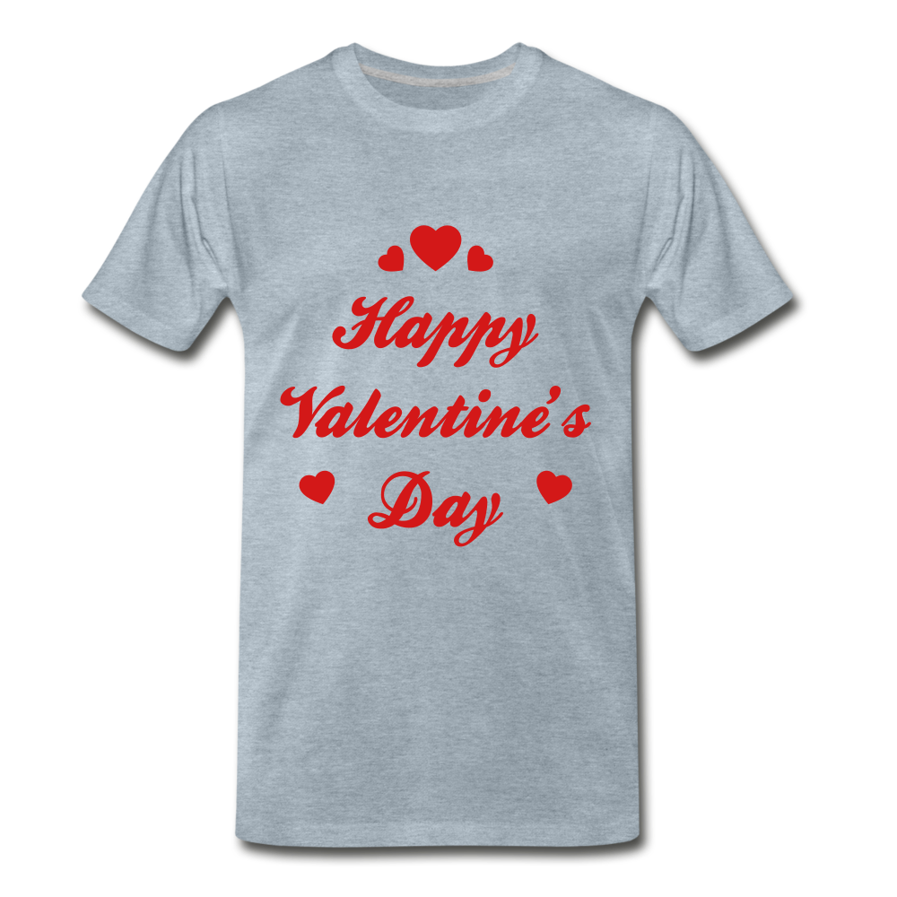 Happy Valentines day Tee - heather ice blue