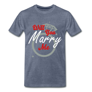 Will You Marry Me Tee. - heather blue