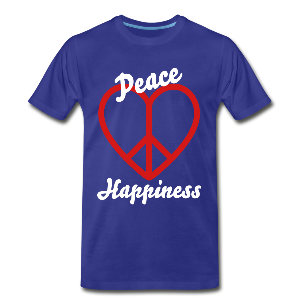Peace, Love, Happiness Tee - royal blue