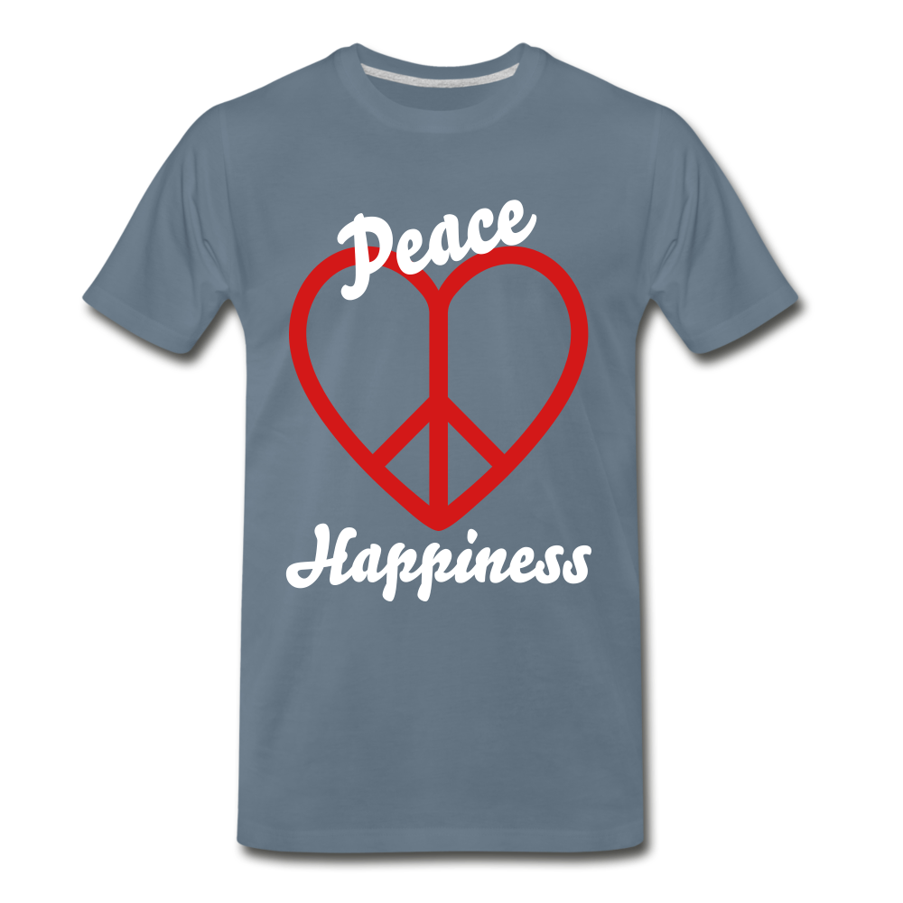 Peace, Love, Happiness Tee - steel blue