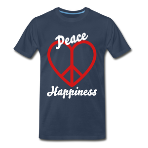 Peace, Love, Happiness Tee - navy