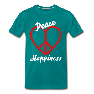 Peace, Love, Happiness Tee - teal
