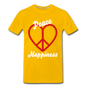 Peace, Love, Happiness Tee - sun yellow