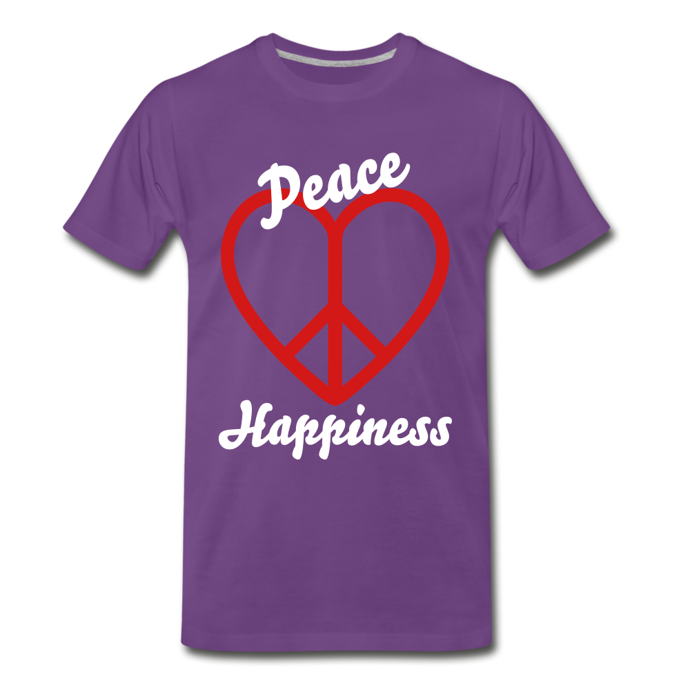 Peace, Love, Happiness Tee - purple