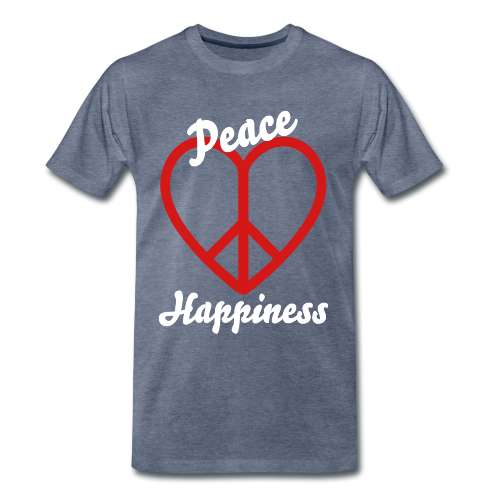 Peace, Love, Happiness Tee - heather blue