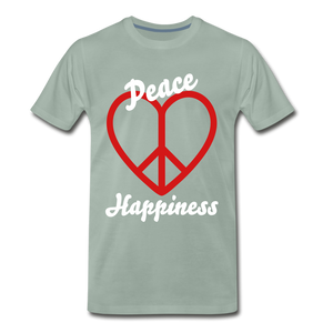Peace, Love, Happiness Tee - steel green
