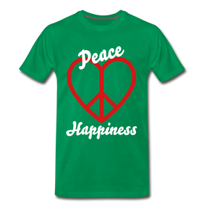 Peace, Love, Happiness Tee - kelly green