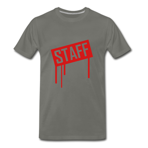 Staff Tee. - asphalt gray