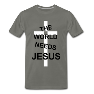 The World Needs Jesus - asphalt gray