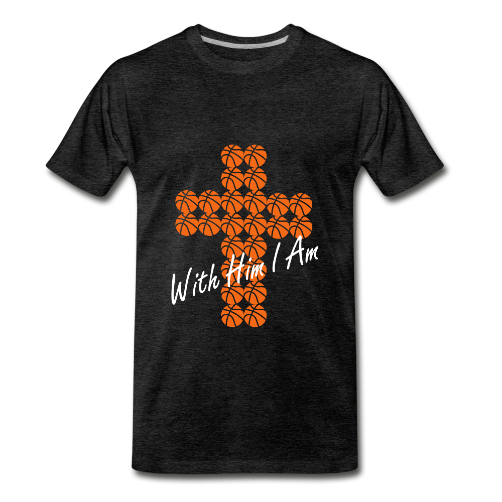 With Him I Am BBall - charcoal gray