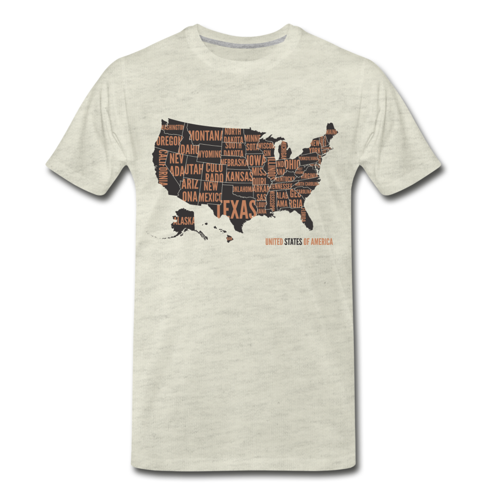 United States Tee. - heather oatmeal