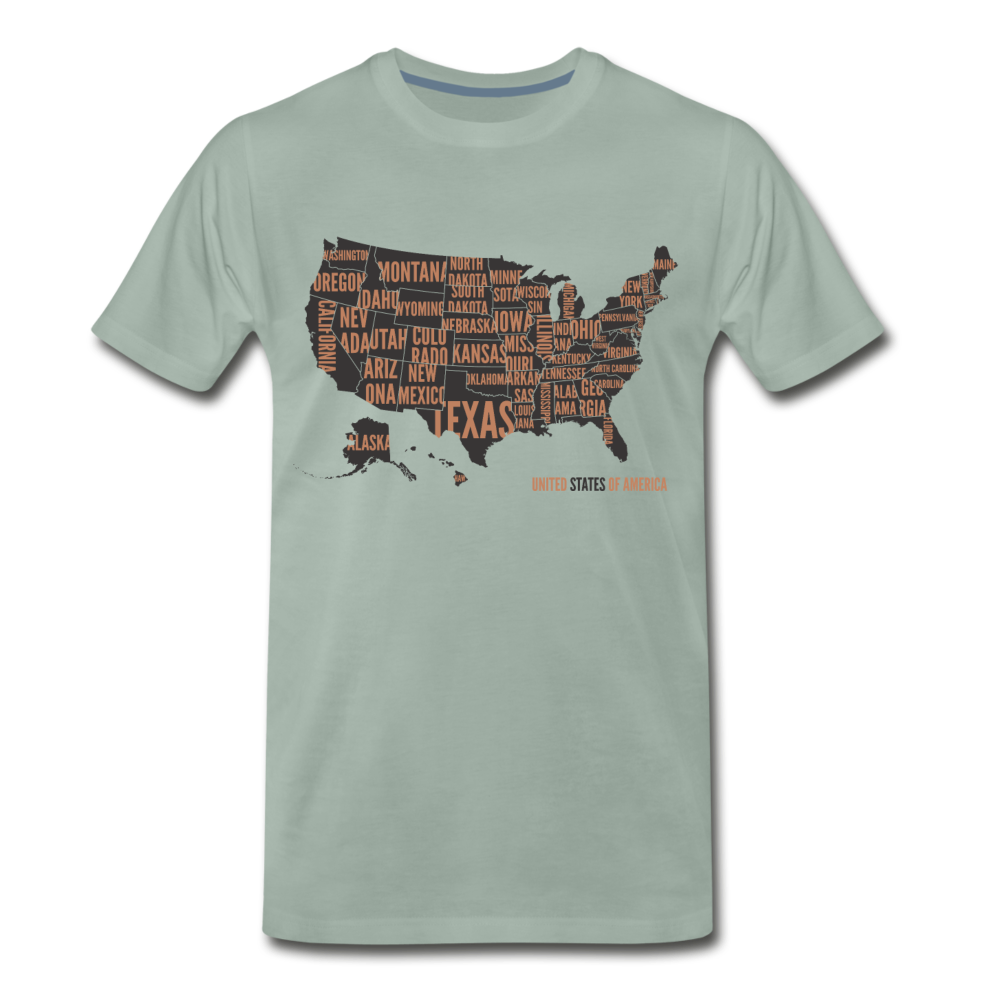 United States Tee. - steel green