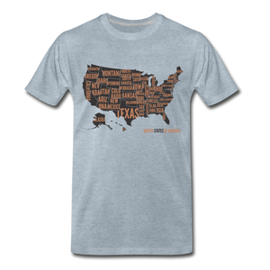 United States Tee. - heather ice blue