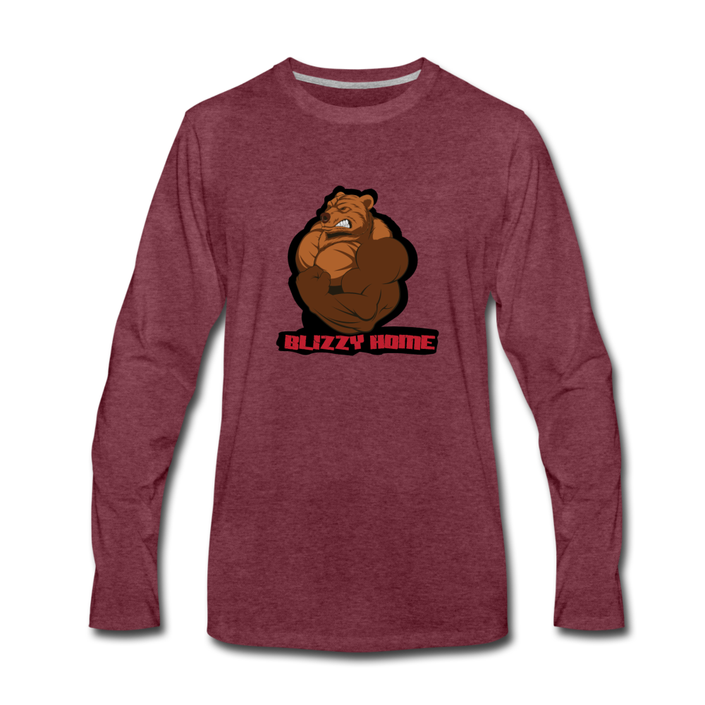 Blizzy Home Signature L/S Tee. - heather burgundy