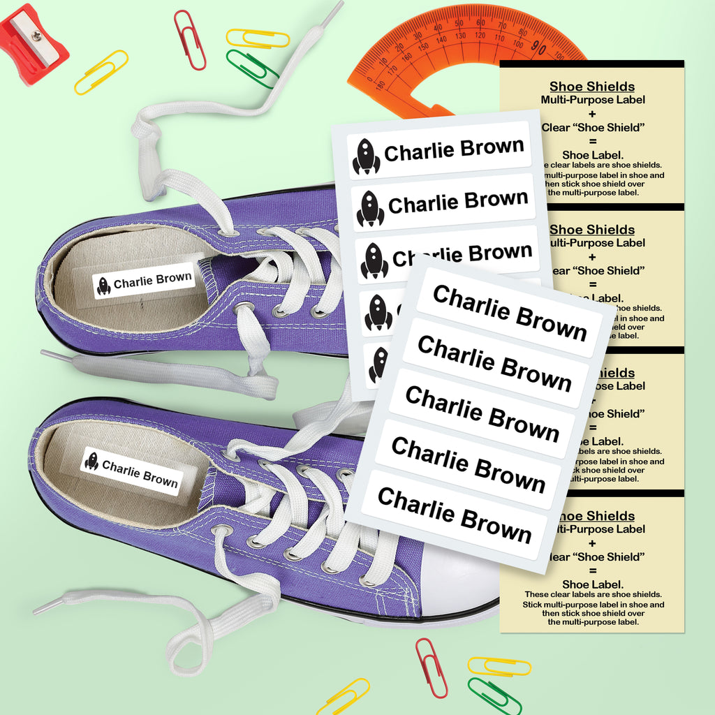 durable shoe name labels in sneaker shoes with protective covers