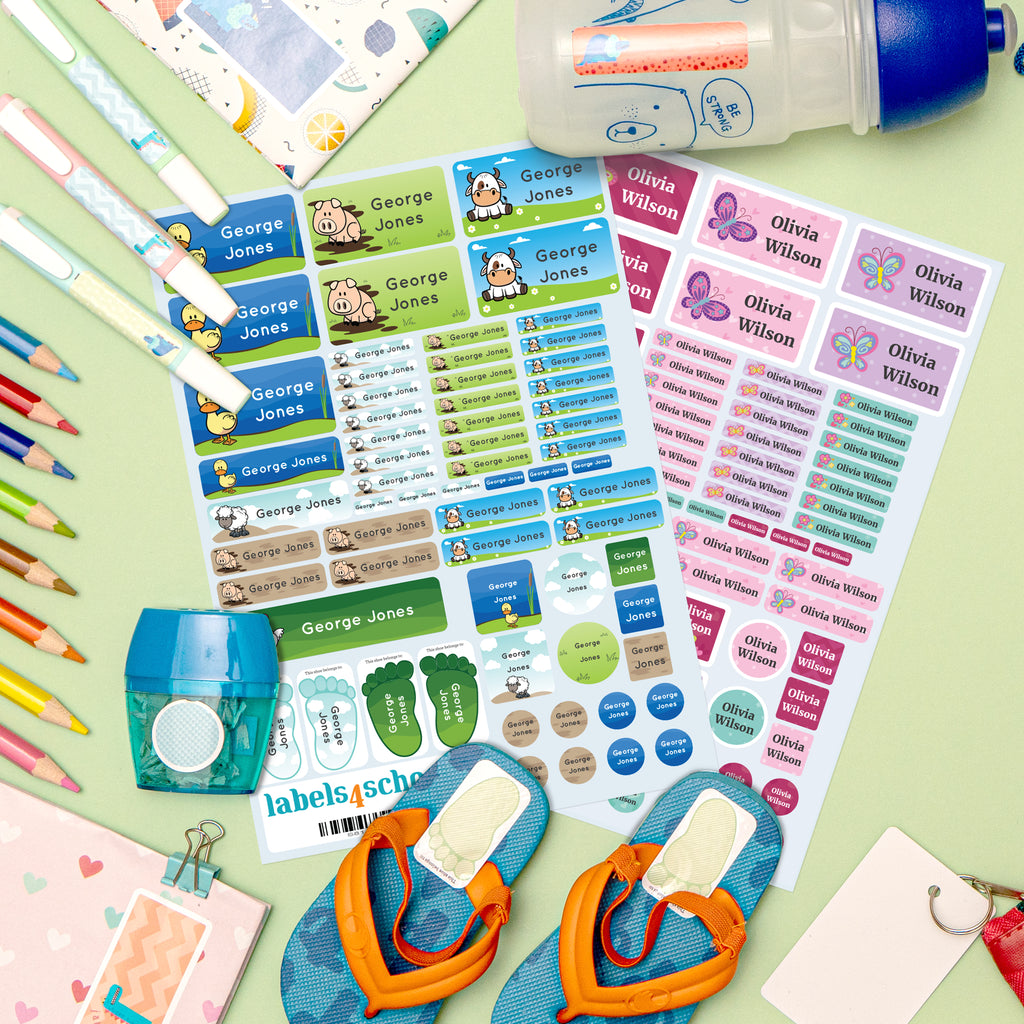 fan display of colour name labels in the mini starter pack farmyard and butterflies theme