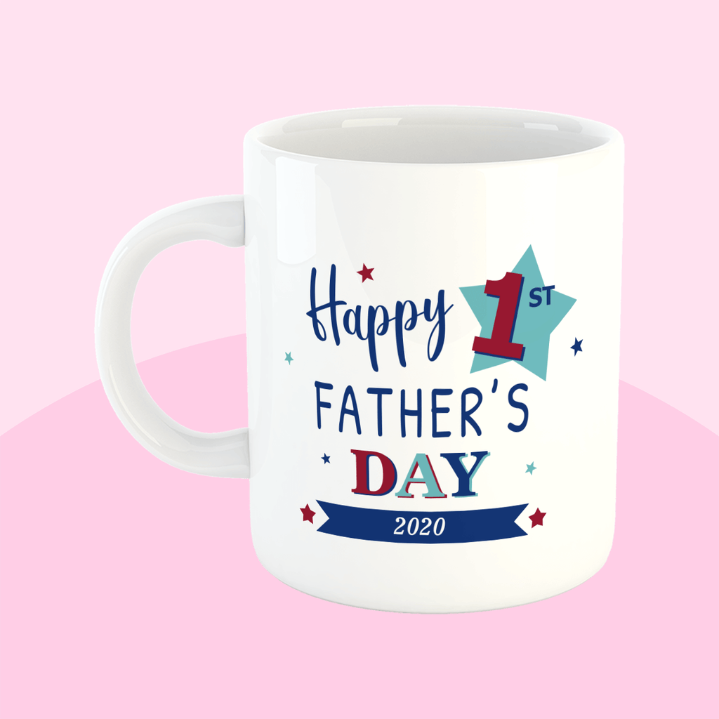 Happy First Fathers Day 2020 - Father's day mug - labels4school UK - smashproof mug