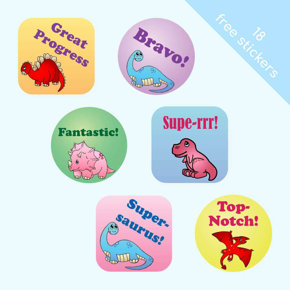 Pastel Dinosaur Reward Stickers