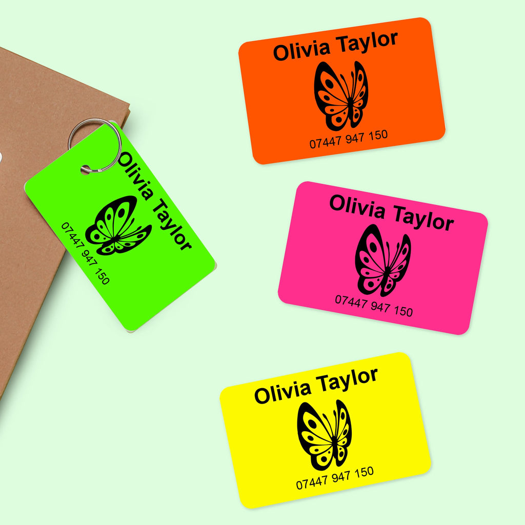 fluorescent pink orange yellow bag tags