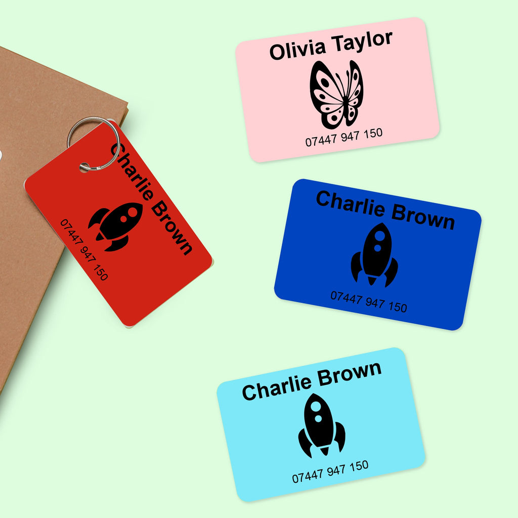 teal pink blue red bag tag name label