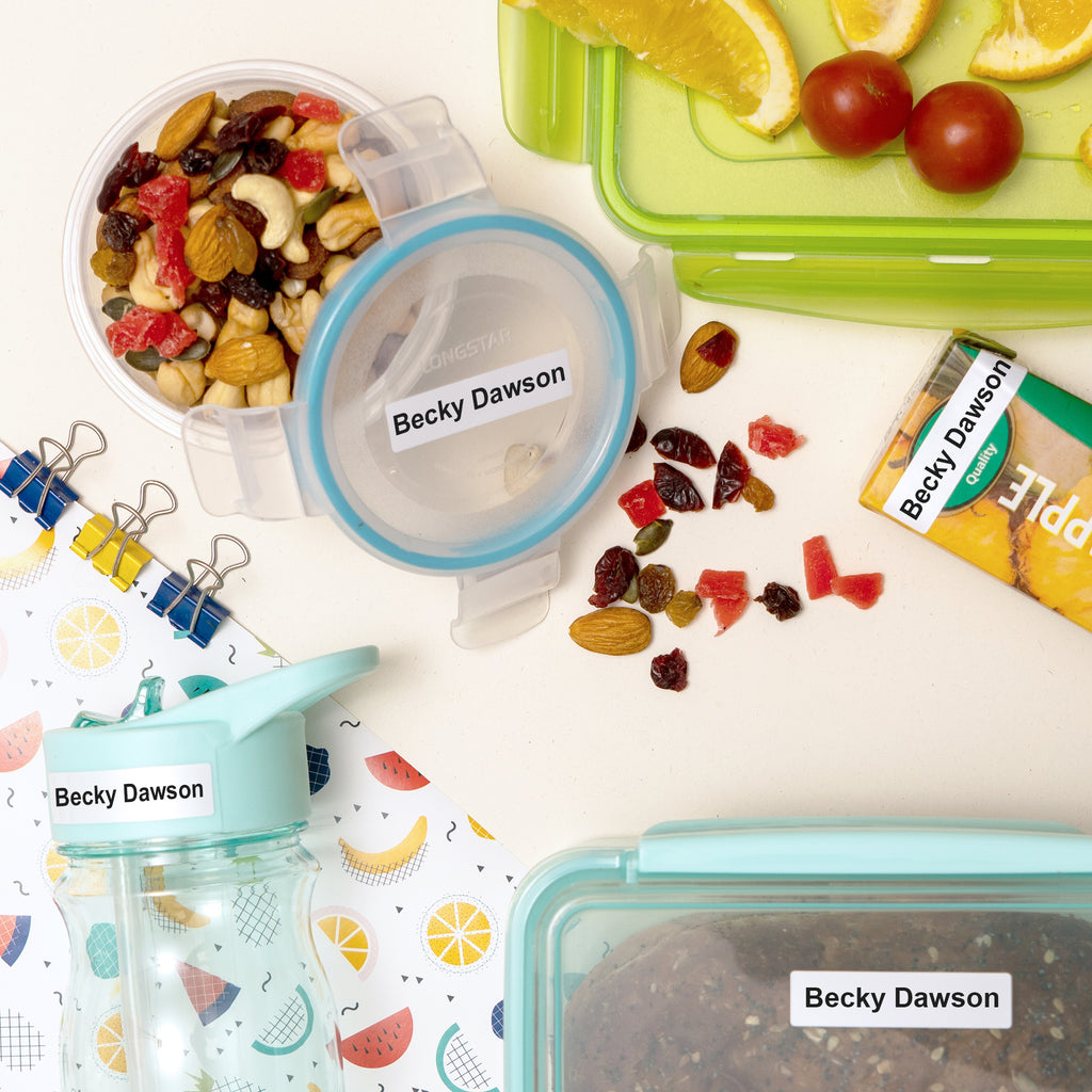 multi purpose name labels on school lunch box and waterproof juice bottle dishwasher safe