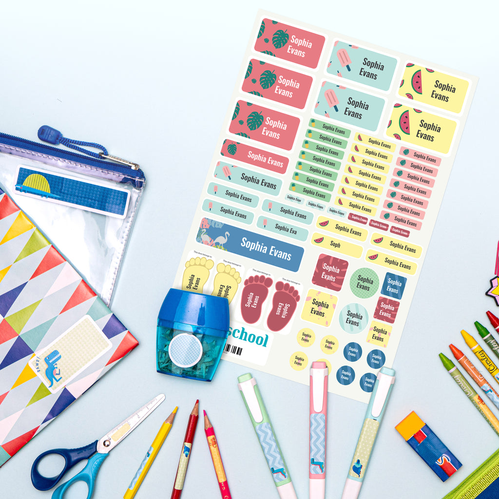 fan display of colour name labels in the preschool pack on stationery tropical theme