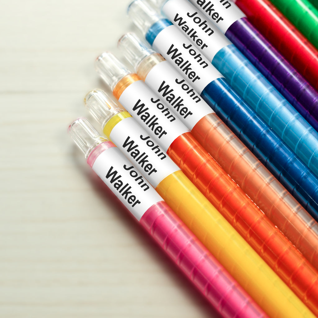 self laminating wrap around pen name label on a colour pen