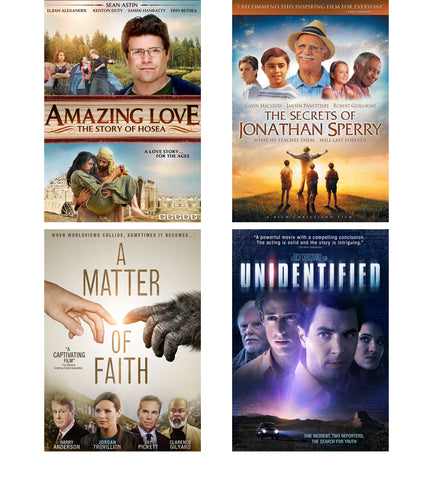 BEST OFFER:  Amazing Love, The Secrets of Jonathan Sperry, A Matter of Faith, Unidentified - 4 Pack DVD