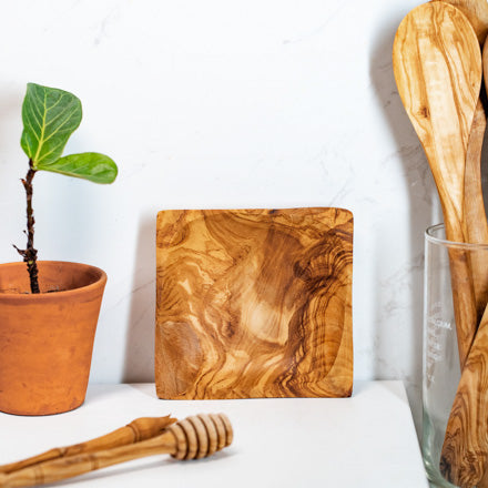 Square Olive Wood Plate - Small