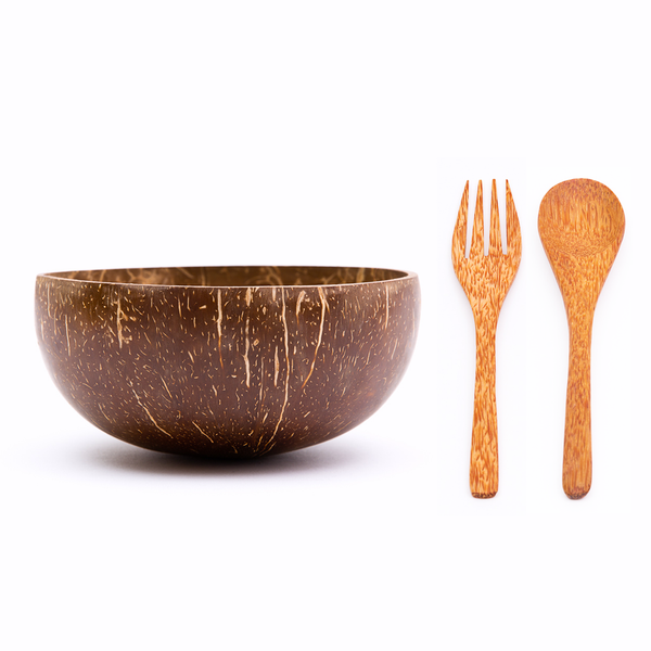 Jumbo Original Coconut Bowl, Wooden Spoon & Wooden Fork | Rainforest Bowls