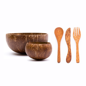 Small and Jumbo Original Coconut Bowls + Wooden Utensil Set | Rainforest Bowls