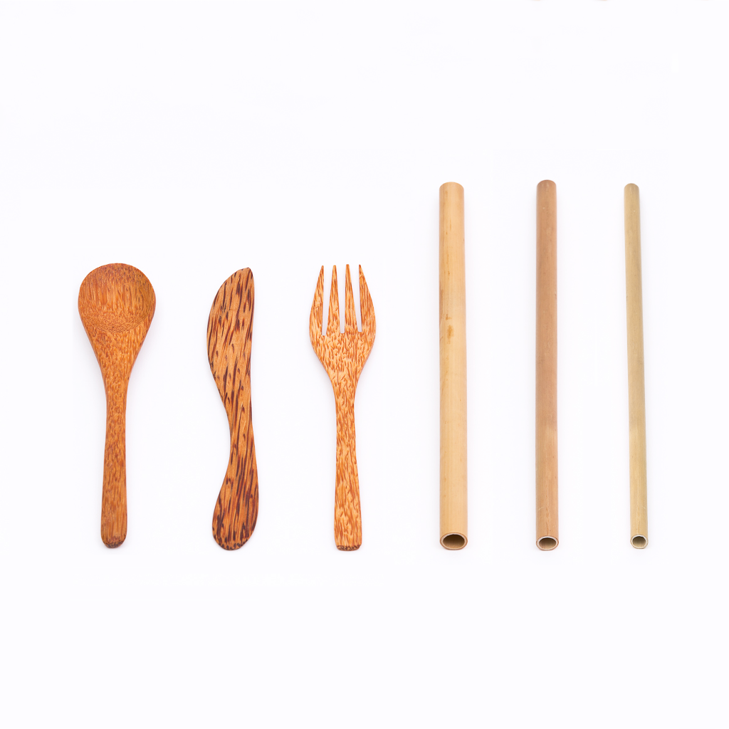 Wooden Utensil Set + Bamboo Straws Variety Pack | Rainforest Bowls