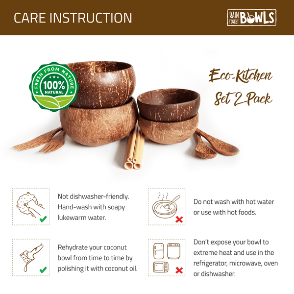 Eco-Kitchen Set 2-Pack With Coconut Utensils