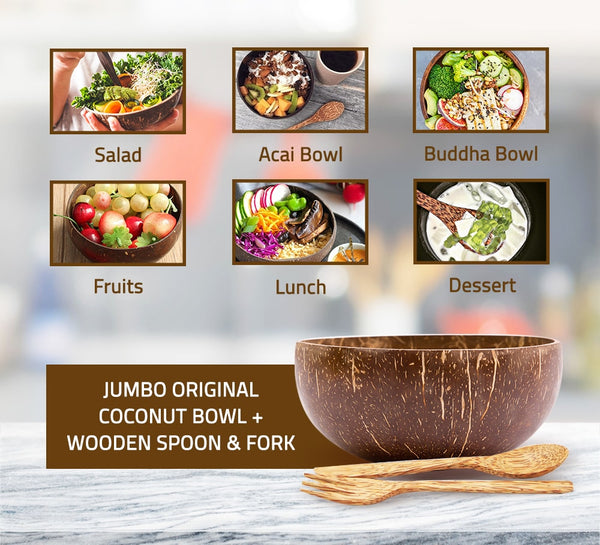 Jumbo Original Coconut Bowl + Wooden Spoon + Wooden Fork