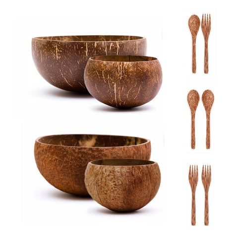Jumbo & Small Coconut Bowls Set w/ Wooden Utensils