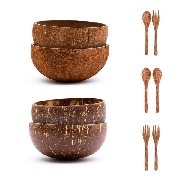 Jumbo Coconut Bowls Set w/ Wooden Utensils