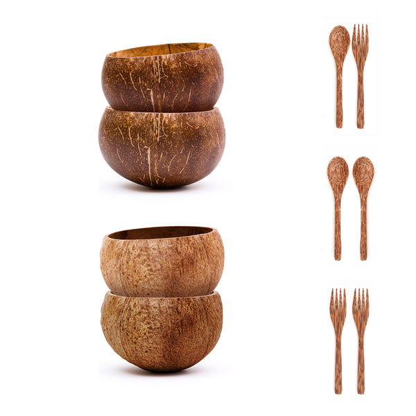 Small Coconut Bowls Set w/ Wooden Utensils
