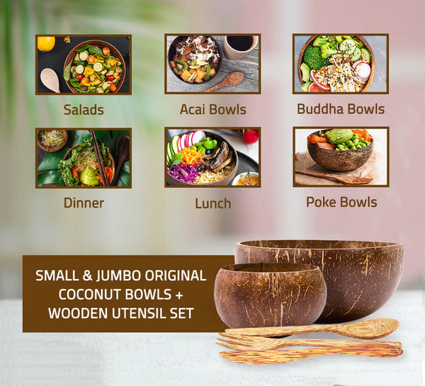 Small and Jumbo Original Coconut Bowls + Wooden Utensil Set