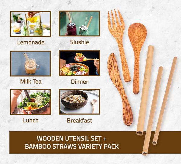 Coconut Wood Utensil Set + Bamboo Straws Variety Pack