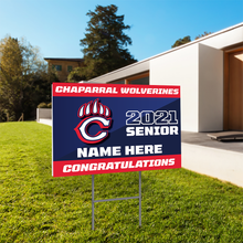 "Load image into Gallery viewer, Personalized 24x18"" School Senior Yard Sign with Yard Stakes"