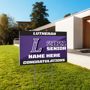 "Personalized 24x18"" School Senior Yard Sign with Yard Stakes"