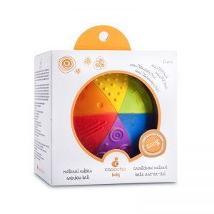 caaocho® 100% pure natural rubber Sensory Rainbow Ball certified BPA, PVC, Phthalate and Nitrosamine free, painted with food grade paints.