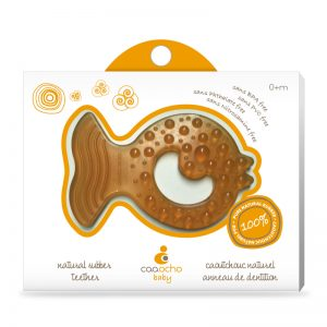 caaocho® pure natural rubber all-stage teether Fish is 100% natural, just as baby's teething. The teether starts as pure natural tree sap from the rubber tree Hevea that is minimally processed into durable 100% pure natural rubber. Certified BPA, PVC, Phthalate, Nitrosamine and colour free, the teether is completely non-toxic. Our natural teether is earth friendly, it is produced sustainably and is entirely biodegradable.