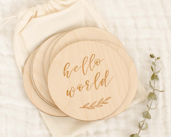 Etched Wooden Baby Milestone Discs