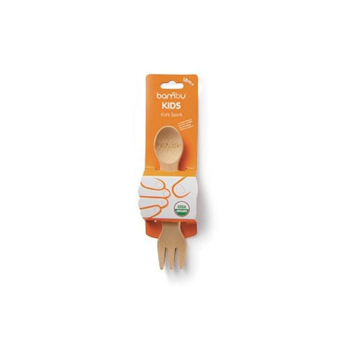 The bambu® kid's spork is for kids who are ready to feed themselves. Finished with certified organic food-safe oil. Made from organic bamboo. Sold online at The Eco Baby Co™.