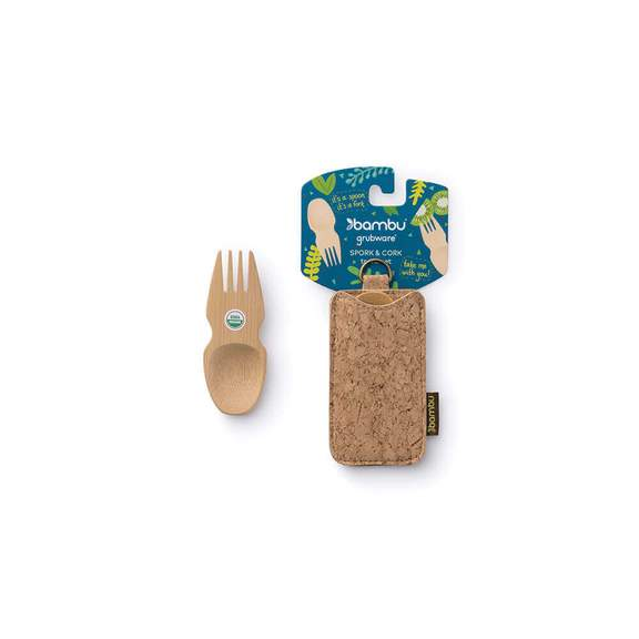 Bamboo spork and cork sleeve from Bambu featuring zero waste packaging.