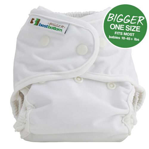 "The Bigger Best Bottom shell provides a roomier fit as compared to the original Best Bottom Diaper - with 1.5"" added to the waist and 1"" added to the length of the rise. The Bigger Best Bottom is designed to fit babies 10-45+ lbs. Sold online at The Eco Baby Co™."
