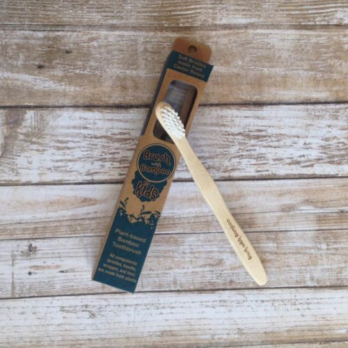Brush with Bamboo Kids Bamboo Toothbrush is an eco-friendly plastic-free toothbrush for children. Made with sustainable bamboo and compostable packaging. Sold online at The Eco Baby Co™.