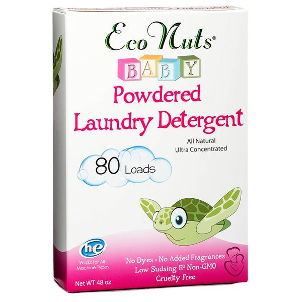 Eco Nuts Baby Powder Laundry Detergent is made from organic soap berries and is safe for cloth diapers. Plastic-free, packaged in zero waste paper board.