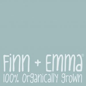 Finn + Emma® Logo ( Teal square with name) Organic baby clothes, toys & gifts made from organic cotton & wood. Eco-friendly, Non-Toxic & Fair-Trade. Modern Baby Prints & Colors. Made in Peru & India.